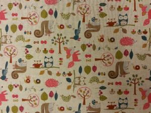 NEW! WOODLAND FAMILY - Fabric 80% Cotton 20% LINEN - Price Per Metre